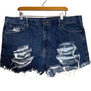 Wrangler custom distressed high waist shorts 21